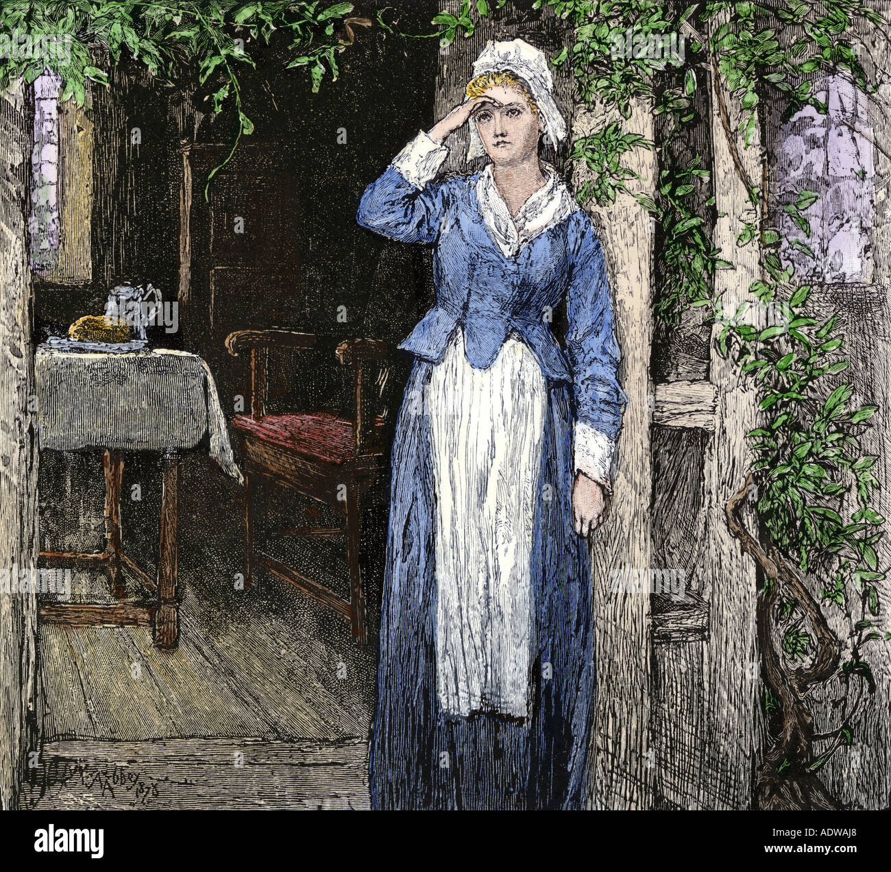 Evangeline an illustration from the poem by Henry Wadsworth Longfellow. Hand-colored woodcut - Stock Image