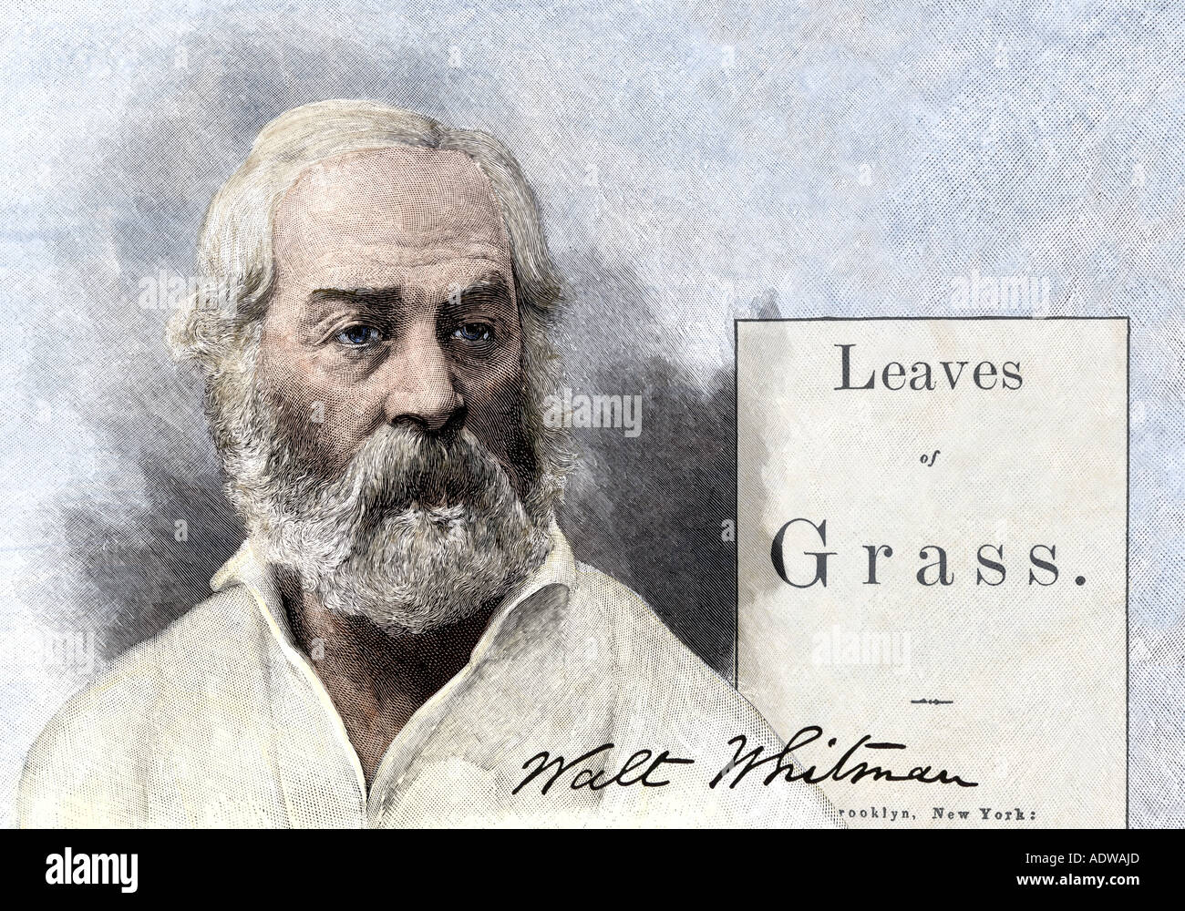 Walt Whitman and the first edition title page of his epic poem Leaves of Grass 1855. Hand-colored woodcuts digitally combined - Stock Image