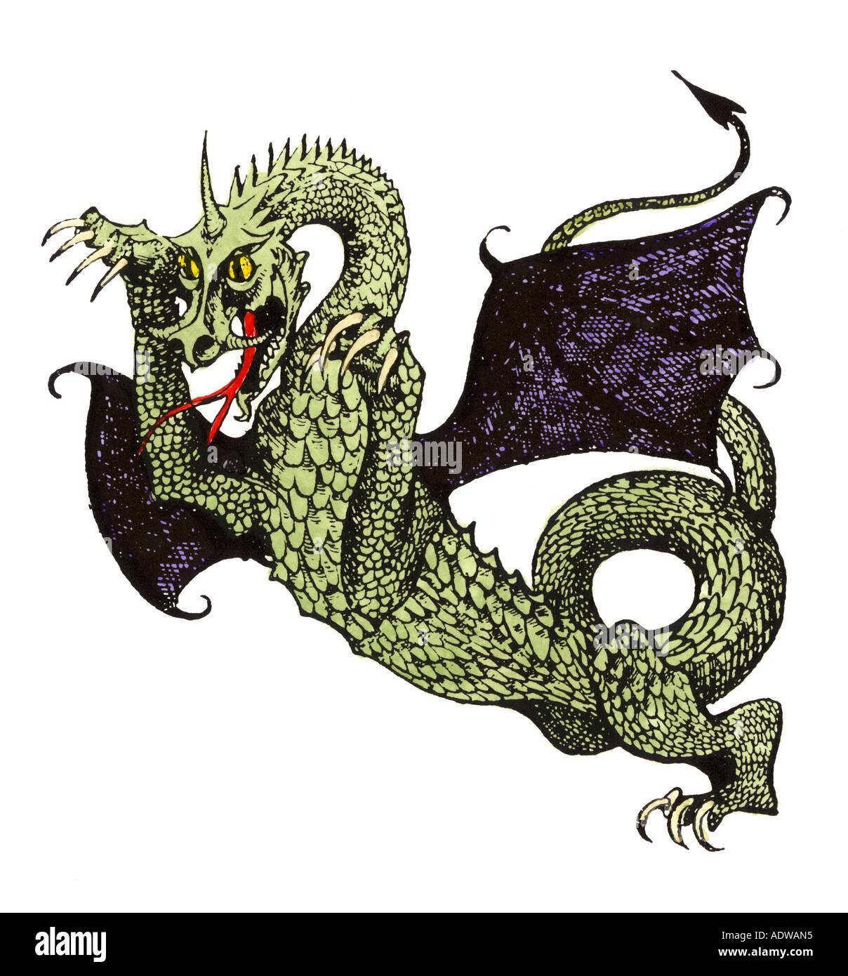 Demonic horned dragon of Hell - Stock Image
