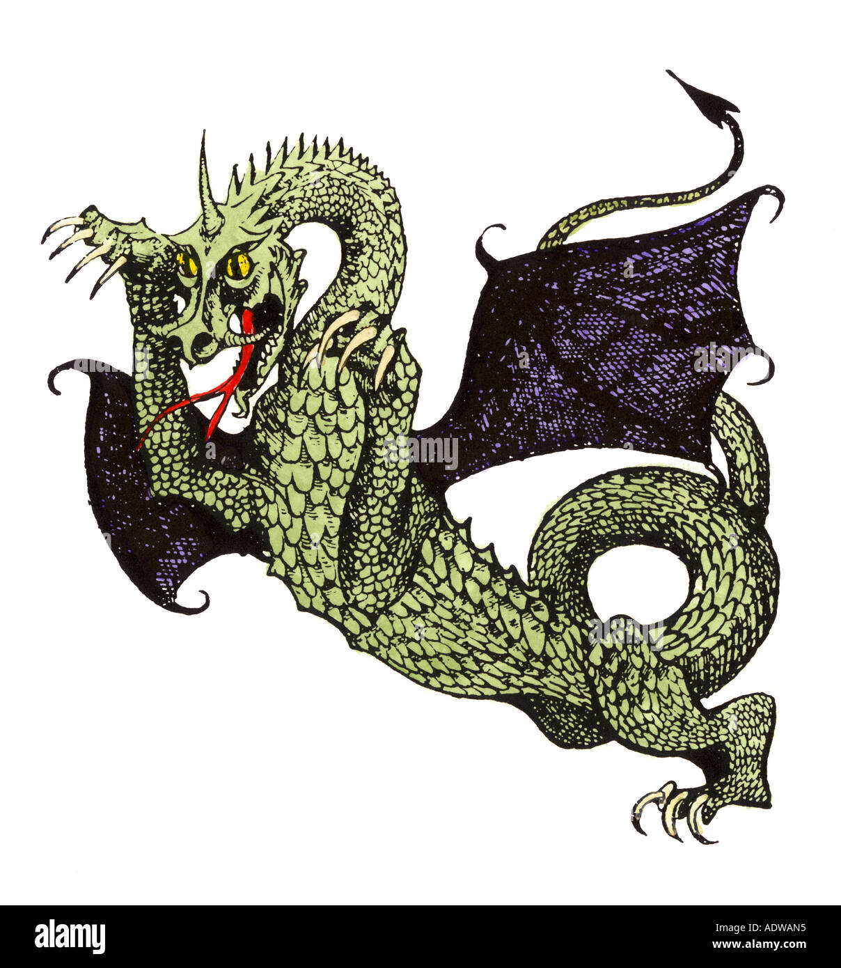 Demonic horned dragon of Hell. Hand-colored woodcut - Stock Image