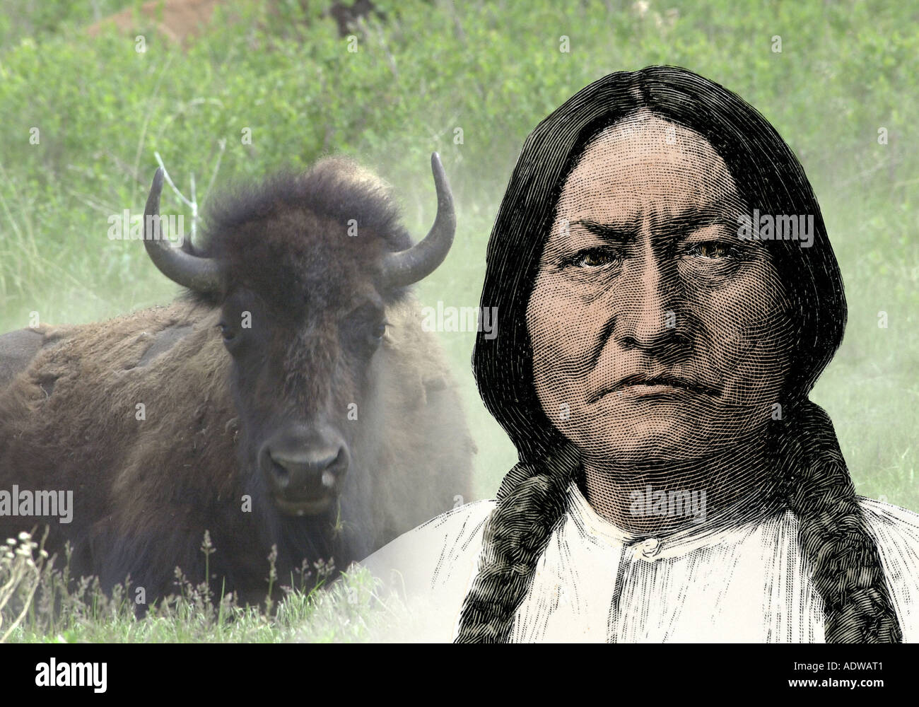 Sioux leader Sitting Bull. Hand-colored woodcut combined with a photograph - Stock Image
