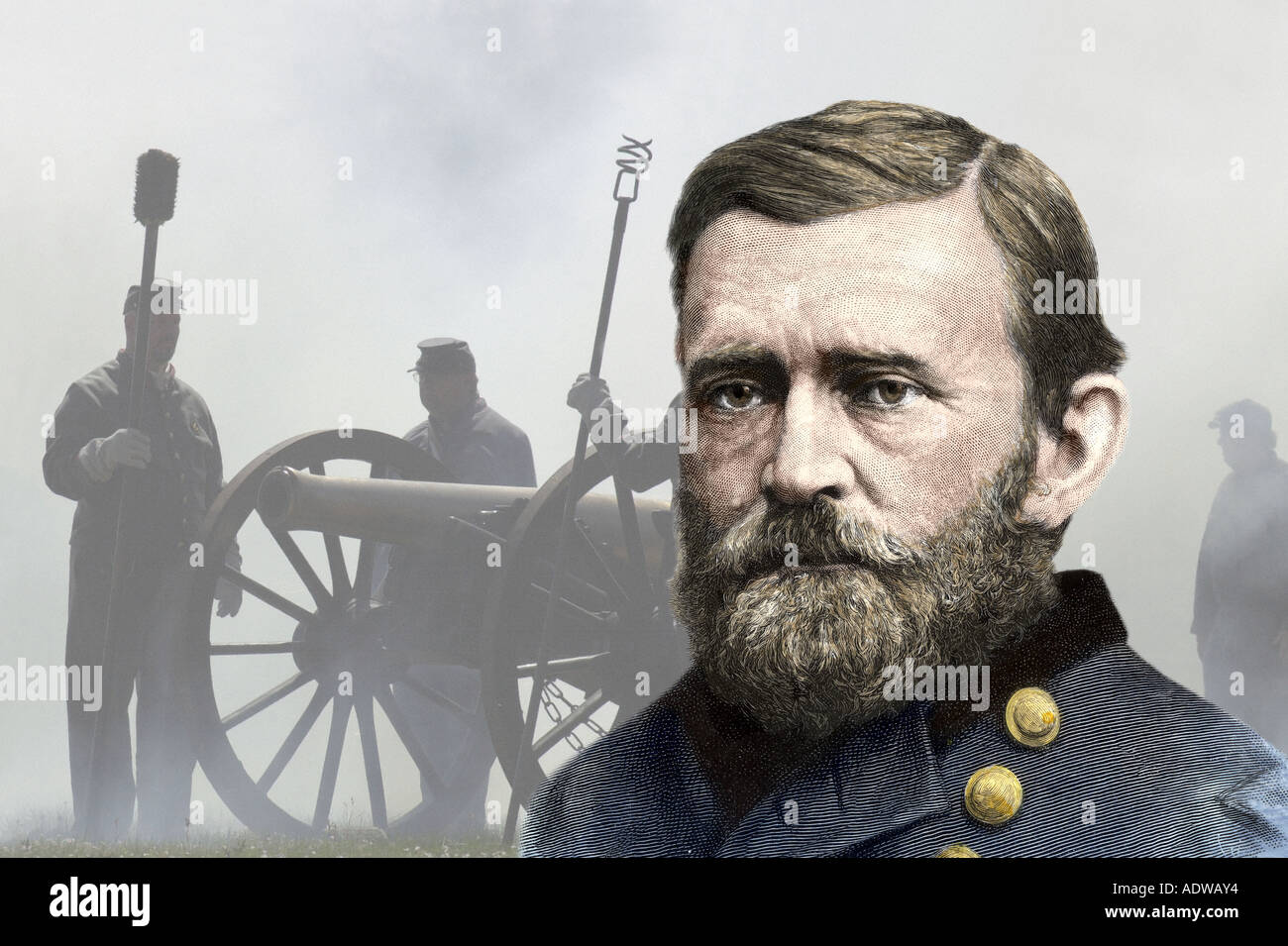General Ulysses S Grant portrait with artillery reenactors at Shiloh Battlefield in Tennessee. Hand-colored woodcut combined with a photograph - Stock Image