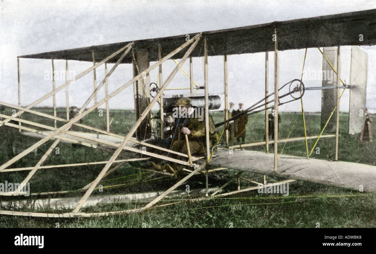 Wilber Wright with his pupil Monsieur Cassandier in a Wright airplane early 1900s - Stock Image