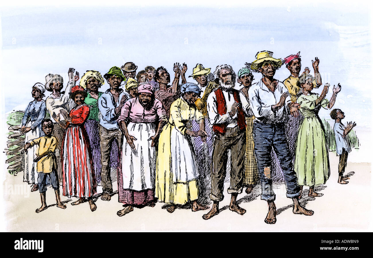 Group of African-American slaves singing on a southern plantation 1800s. Hand-colored woodcut - Stock Image