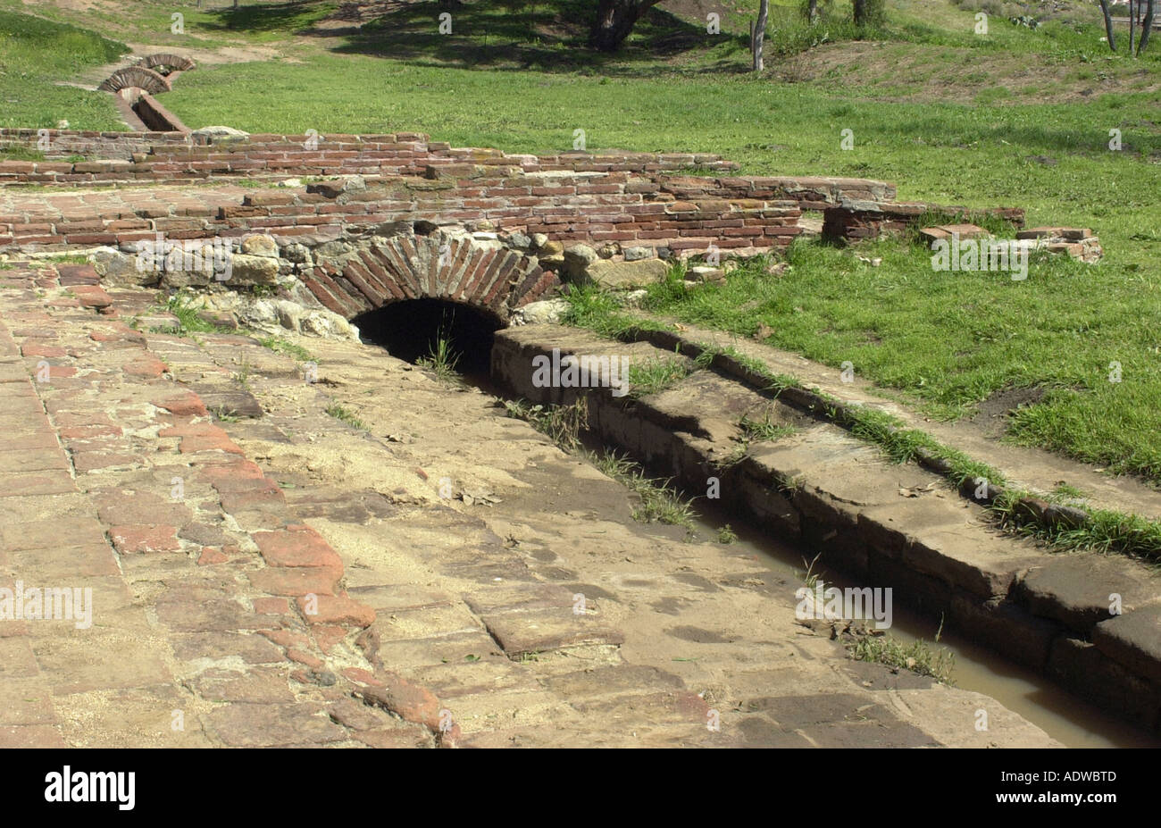 Irrigation systems built by Native Americans at San Luis Rey a Spanish colonial mission founded in 1772. Digital photograph - Stock Image