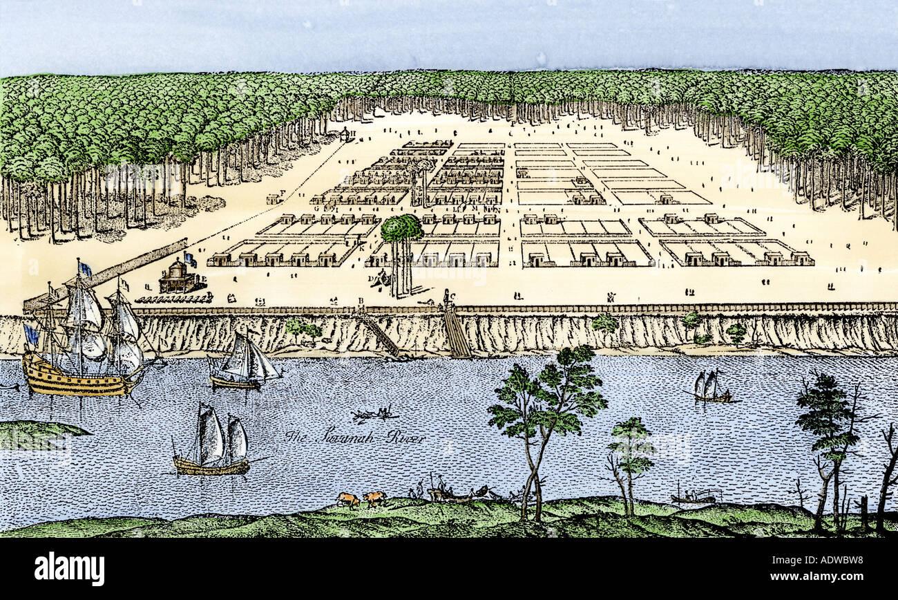 Early Savannah as established by James Oglethorpe in 1741 - Stock Image