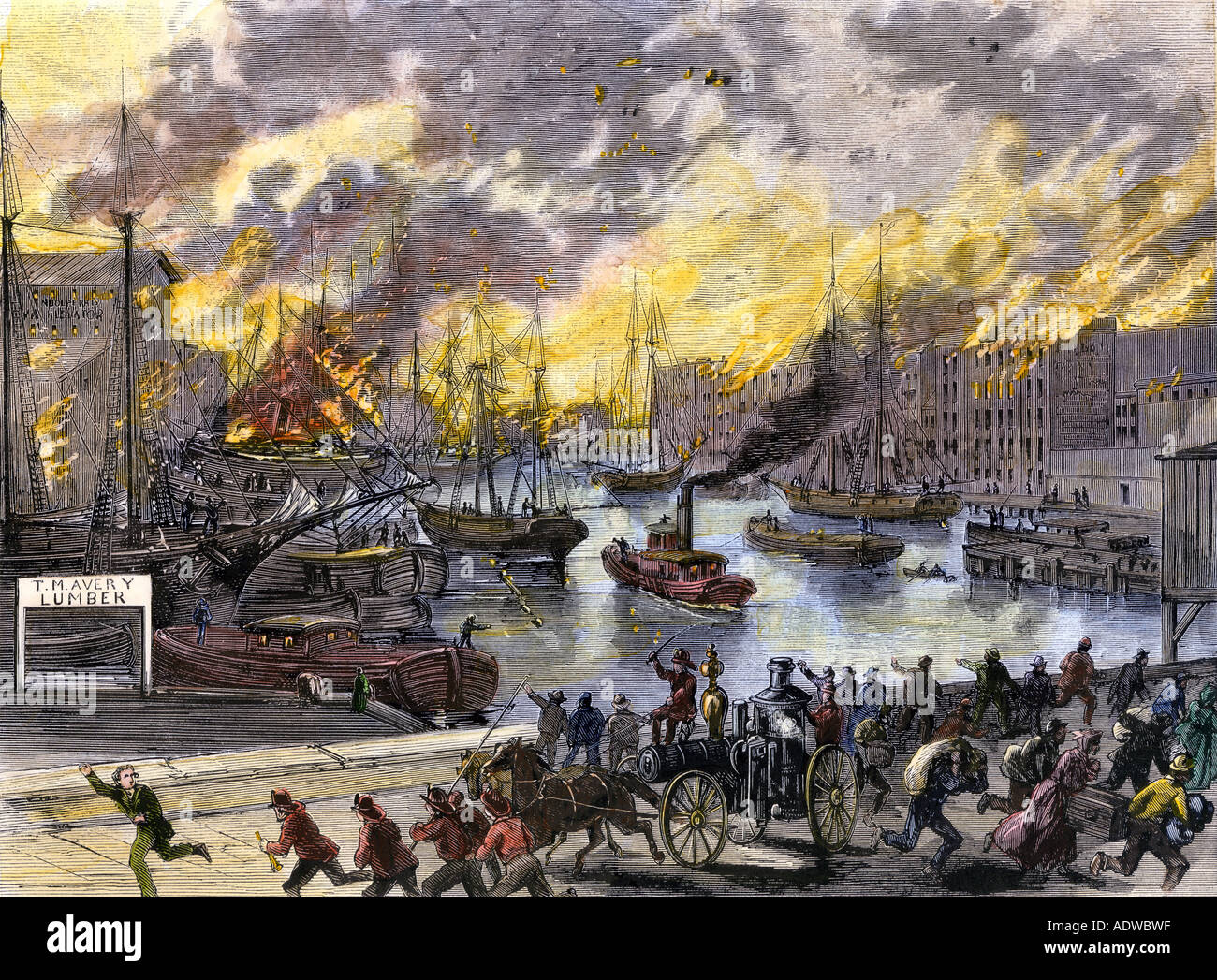 Flaming buildings and boats aong the Chicago River during the Great Fire 1871. Hand-colored woodcut - Stock Image