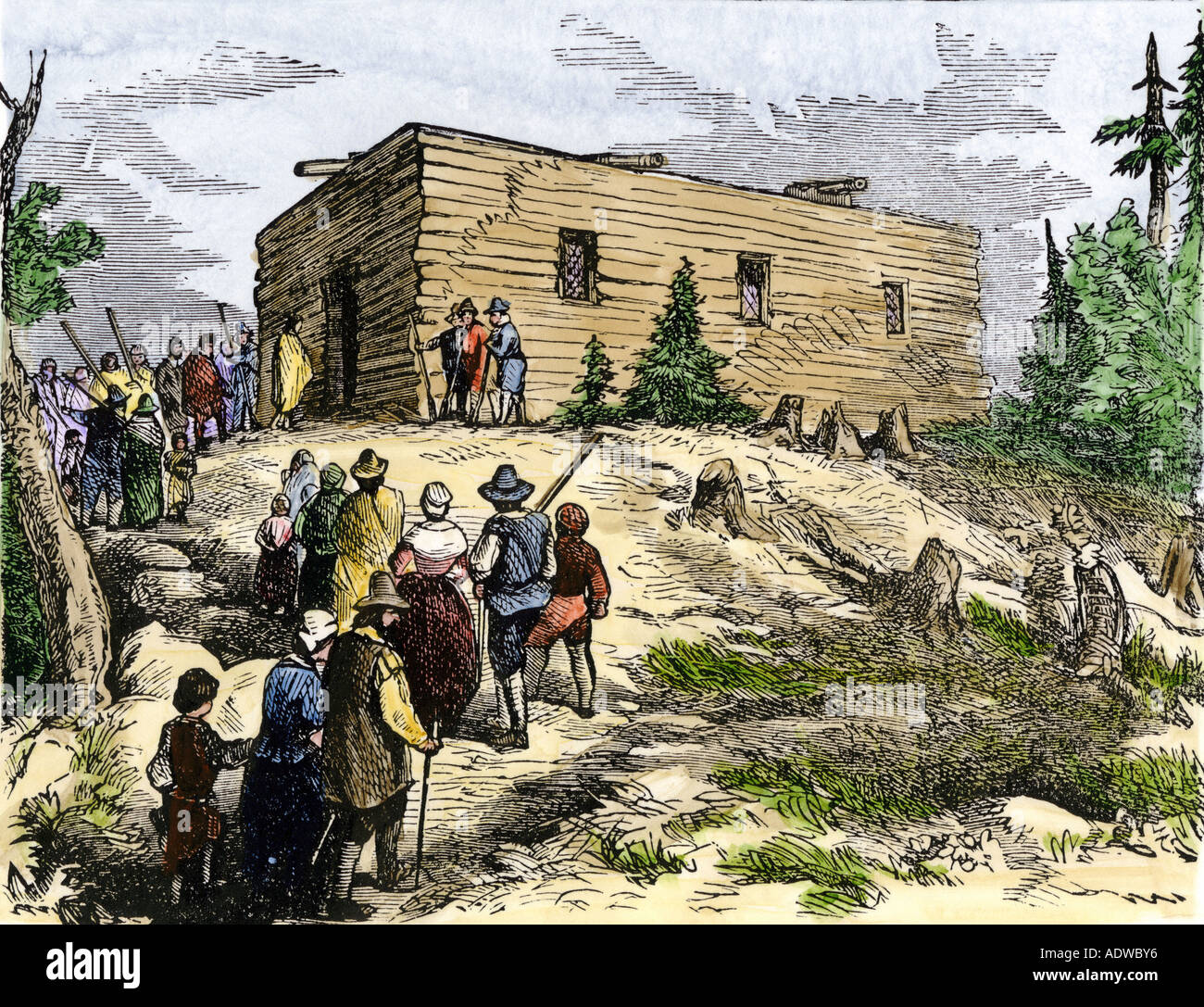 Pilgrims going to worship at the first church in New England Plymouth Colony 1620s. Hand-colored woodcut - Stock Image