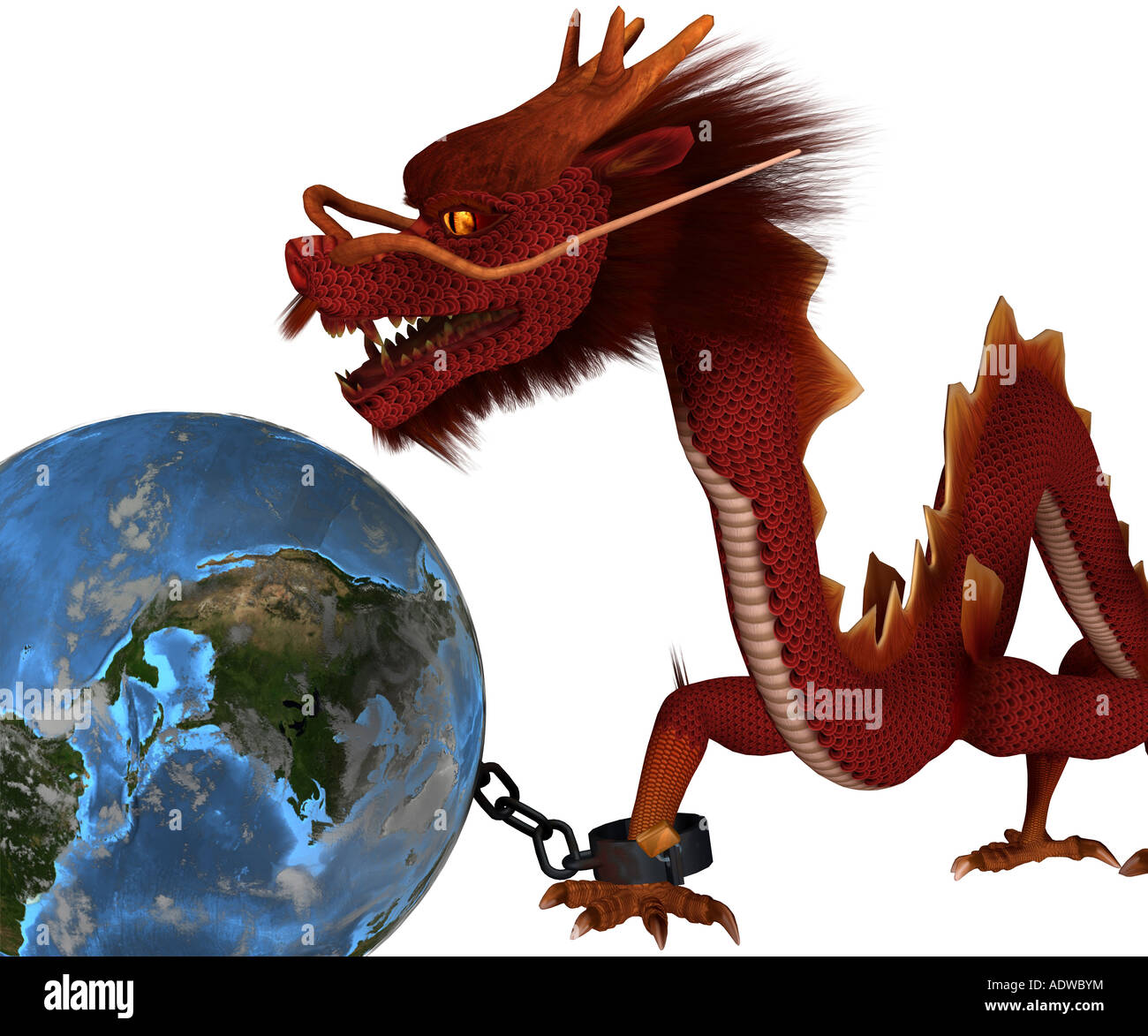 Symbolic graphic for the reciprocal effect of the Chinese economy symbolic as Drache with the world economy - Stock Image
