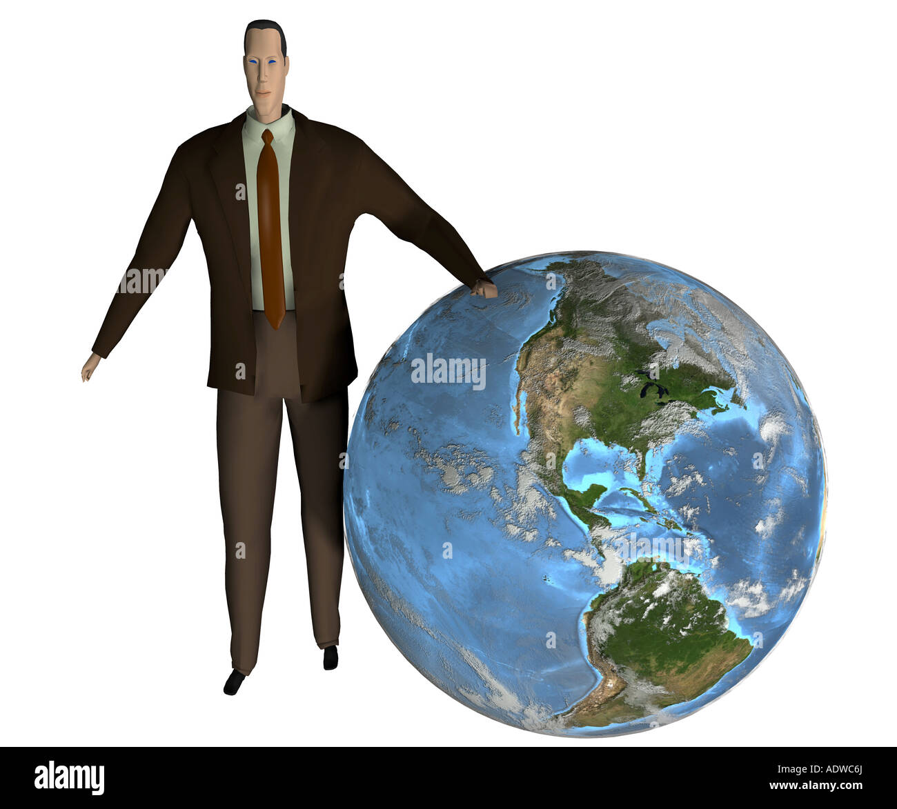 Symbol for the globalization in the economy and the dominance of the economy in the world - Stock Image