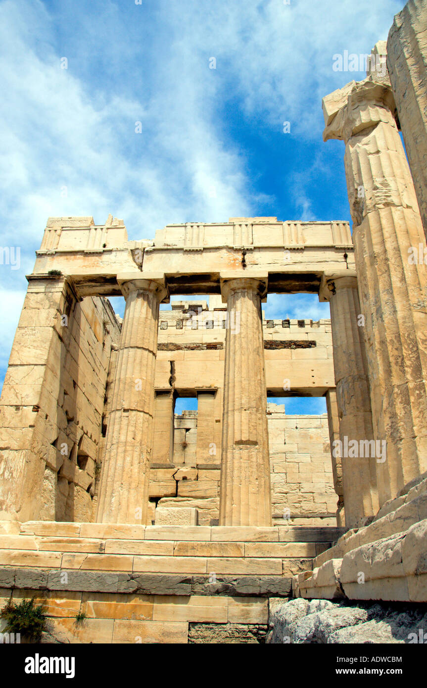 Columns and pillars of the Propylaea entrance to the Acropolis in Athens Greece Stock Photo
