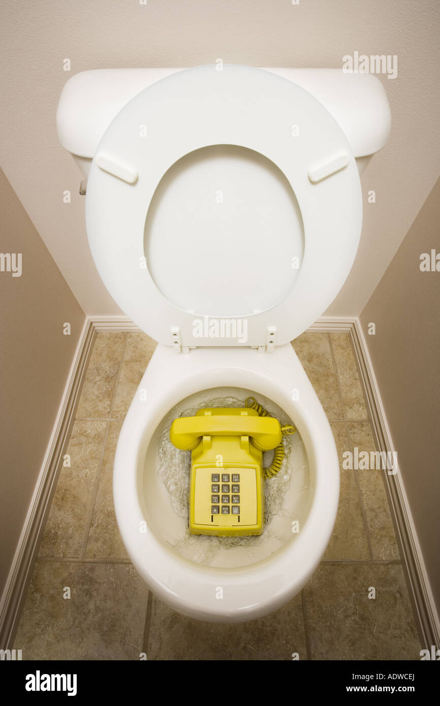 Toilet with old fashioned telephone - Stock Image