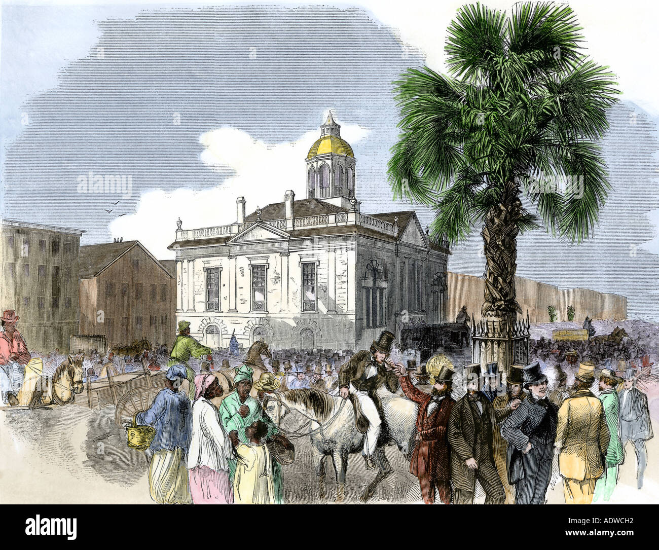 Old Custom House in Charleston South Carolina just before the Civil War 1860. Hand-colored woodcut - Stock Image