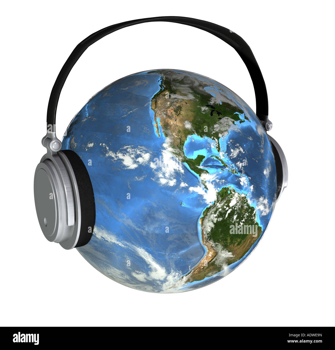 Earth With Hearing Protection As Symbol For The Noise Pollution