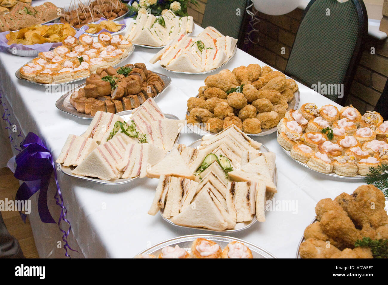 food buffet table at a wedding reception in the uk stock photo