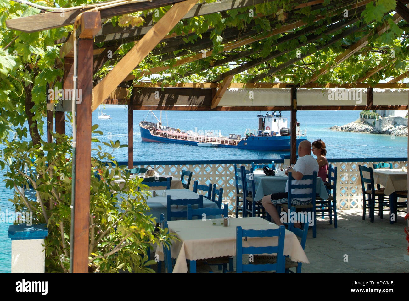 Restaurant in Fiskardo in Kefalonia in Greece Stock Photo: 7714669 ...
