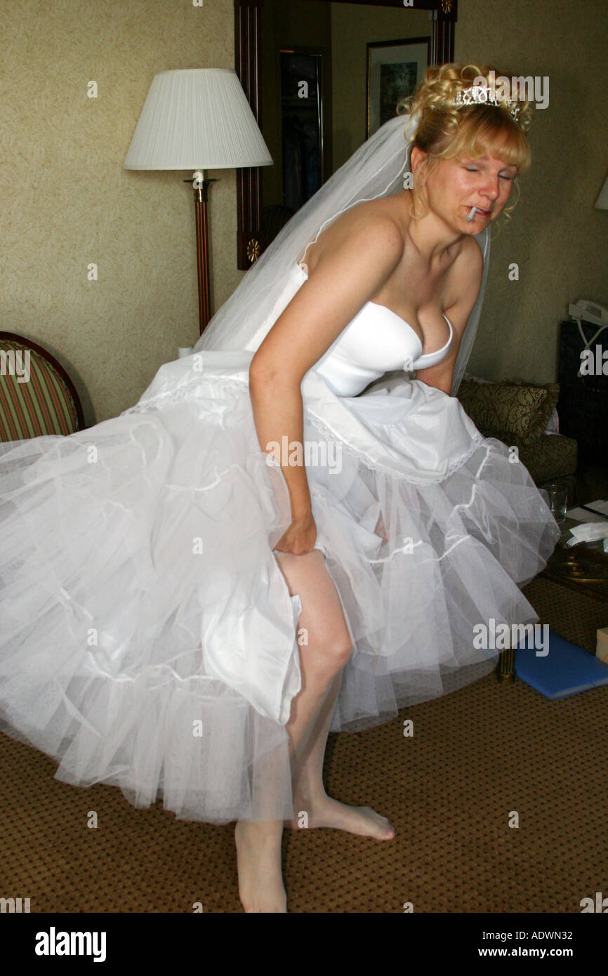 Bride Getting Ready For Her Wedding While Smoking A Cigarette Stock Image: Smoking Brides Wedding Dress At Websimilar.org
