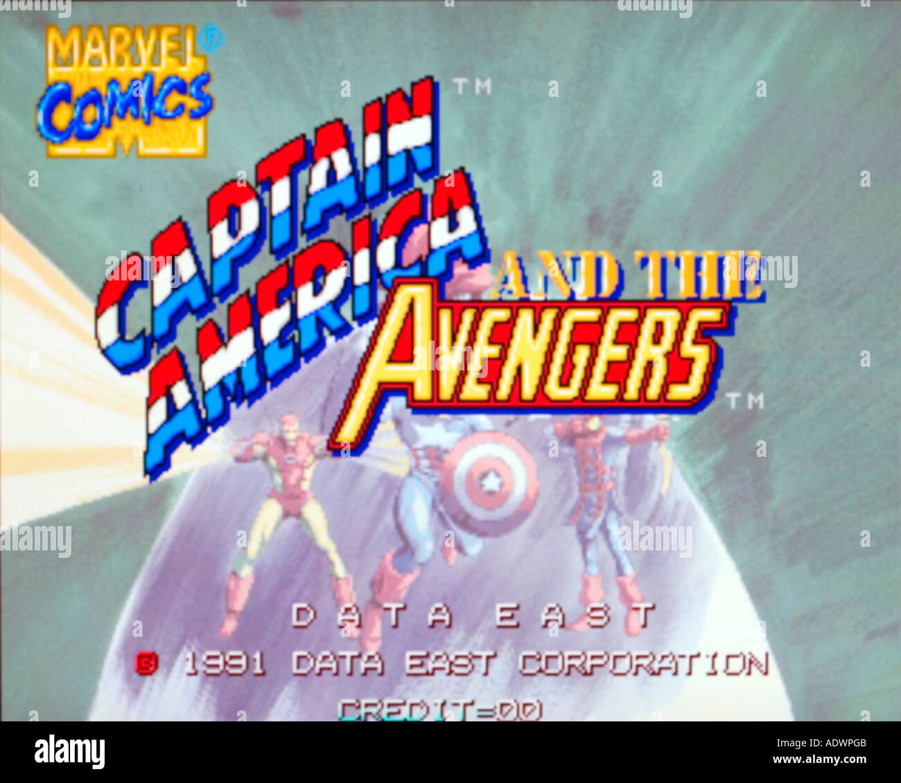 Marvel Comics Captain America and the Avengers Data East 1991 vintage arcade videogame screenshot - EDITORIAL USE ONLY - Stock Image