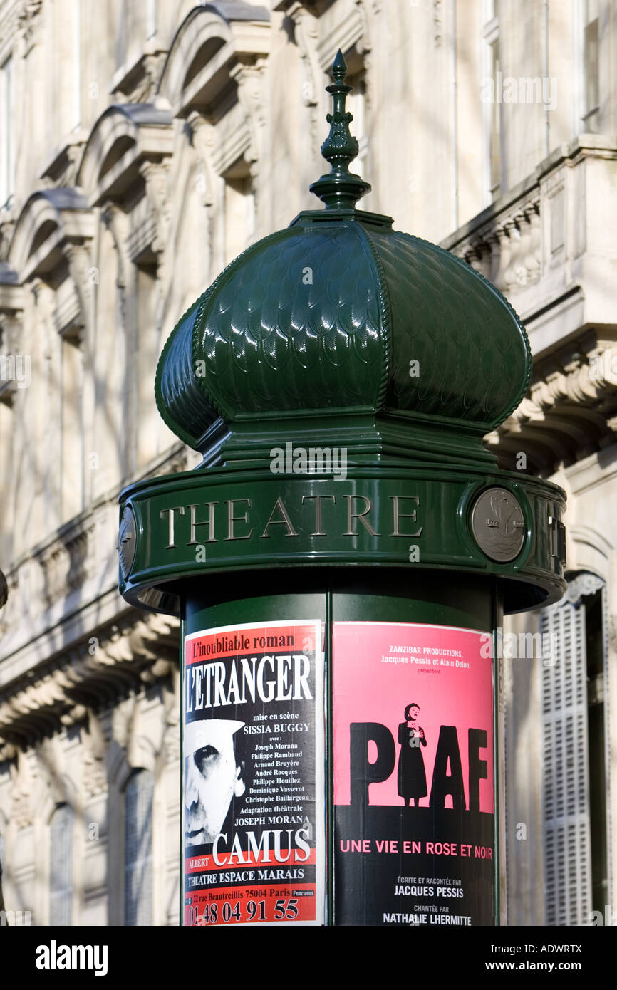 Obelisk advertising theatre productions of Edith Piaf and Camus in Parisian street France - Stock Image