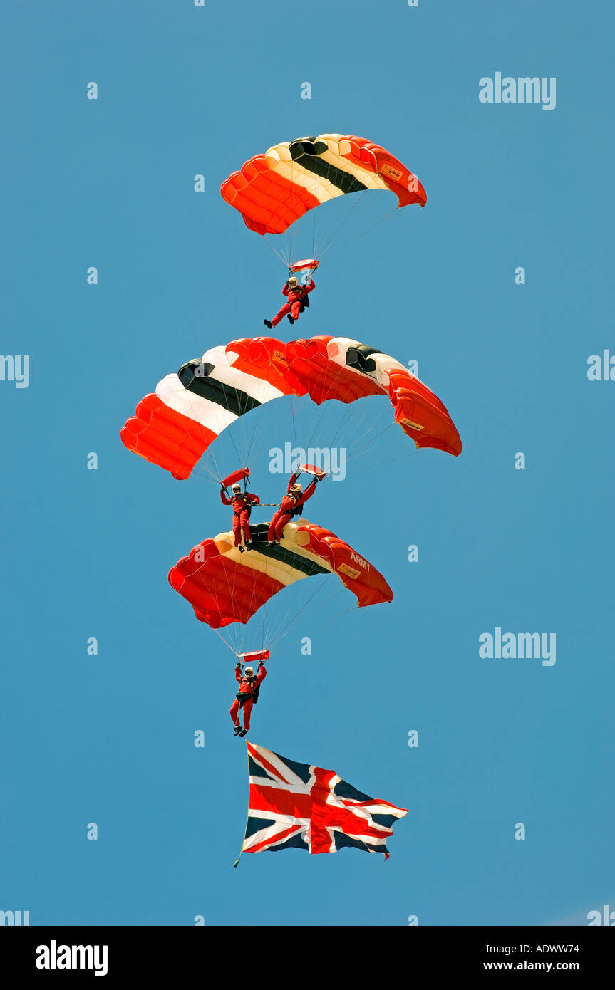 The British Army s Red Devils Parachute Display Team in action - Stock Image
