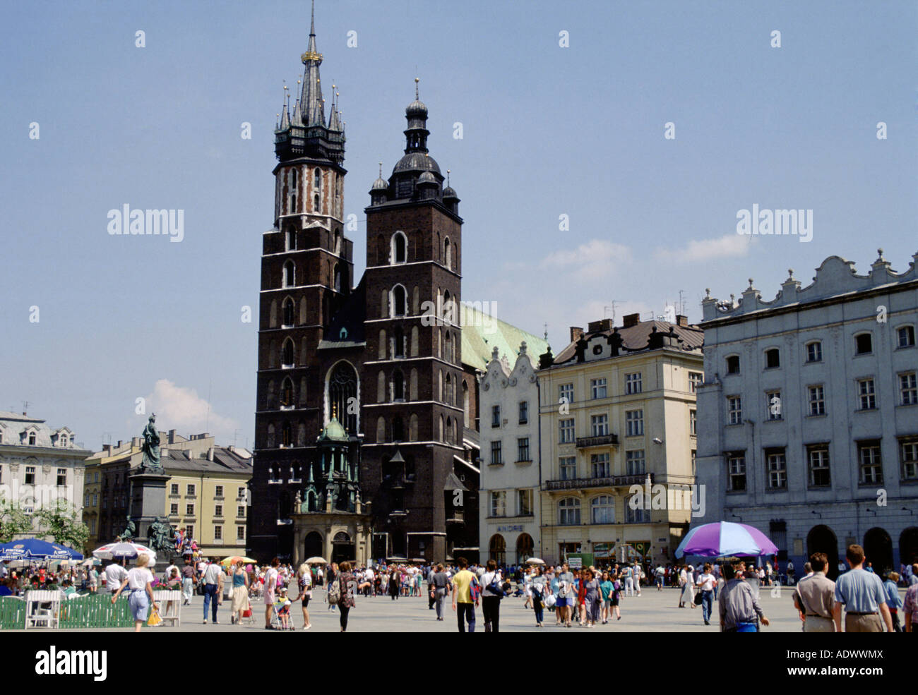 Saint Mary s Basilica in Old Town Square Krakow Poland - Stock Image