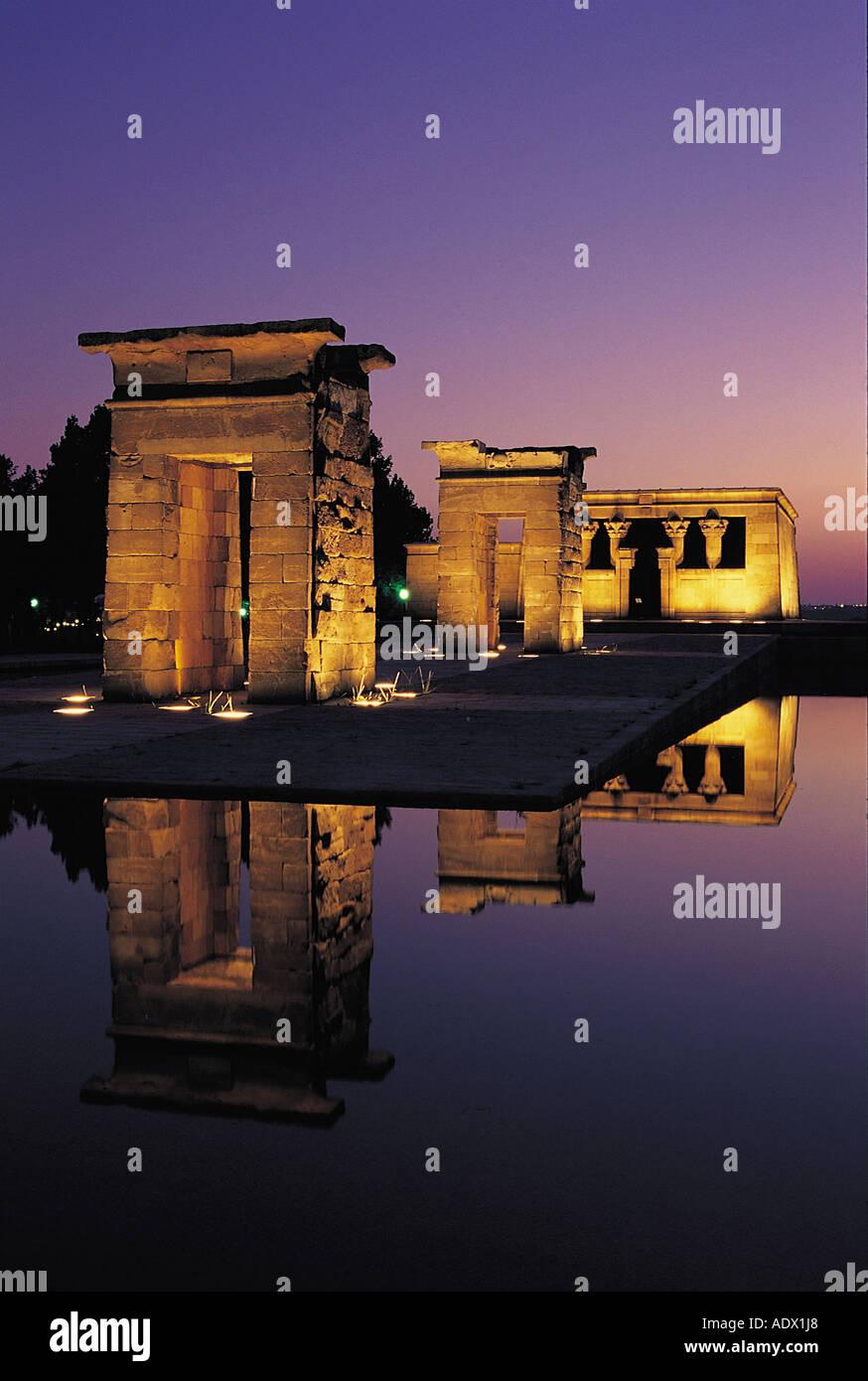 Temple de Debod, Madrid, Spain, evening, tourist, Madrid, Spain, brilliant, chapel, monument, arquitecture, egipto, travel - Stock Image