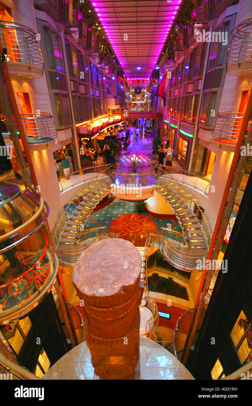 Shopping mall on board the Royal Caribbean Navigator of the Seas cruise ship - Stock Image