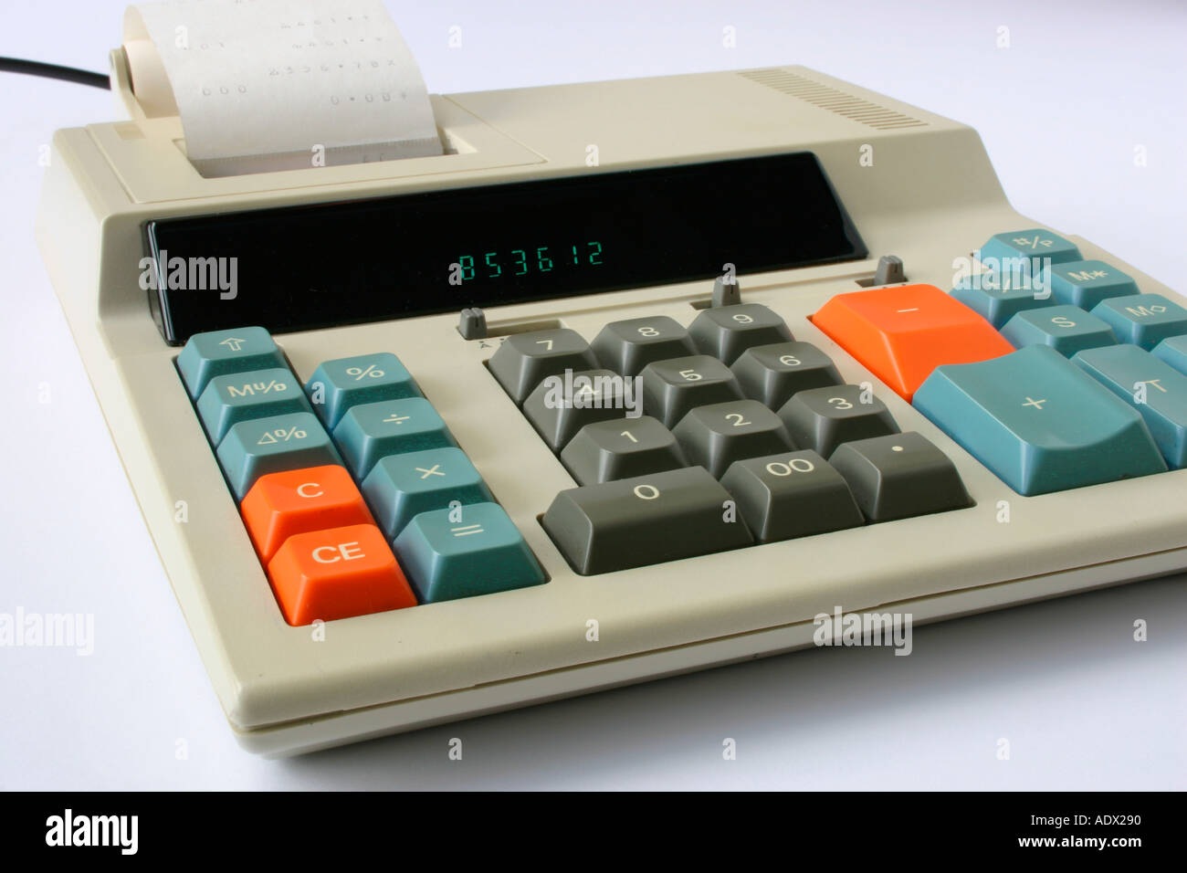 A 1980's Electronic Calculator using a paper roll printout. - Stock Image