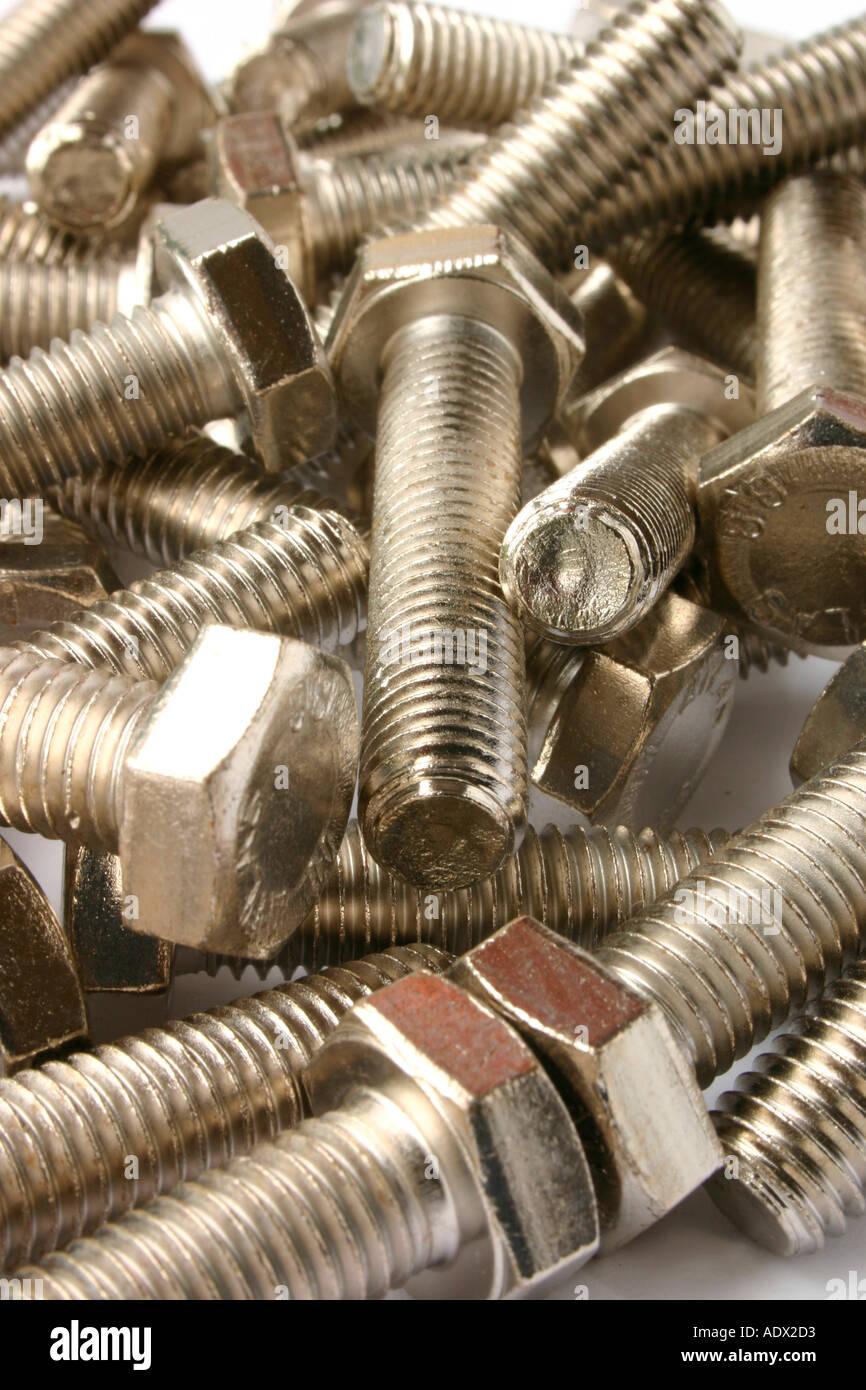 A heap of shiny silver bolts Stock Photo