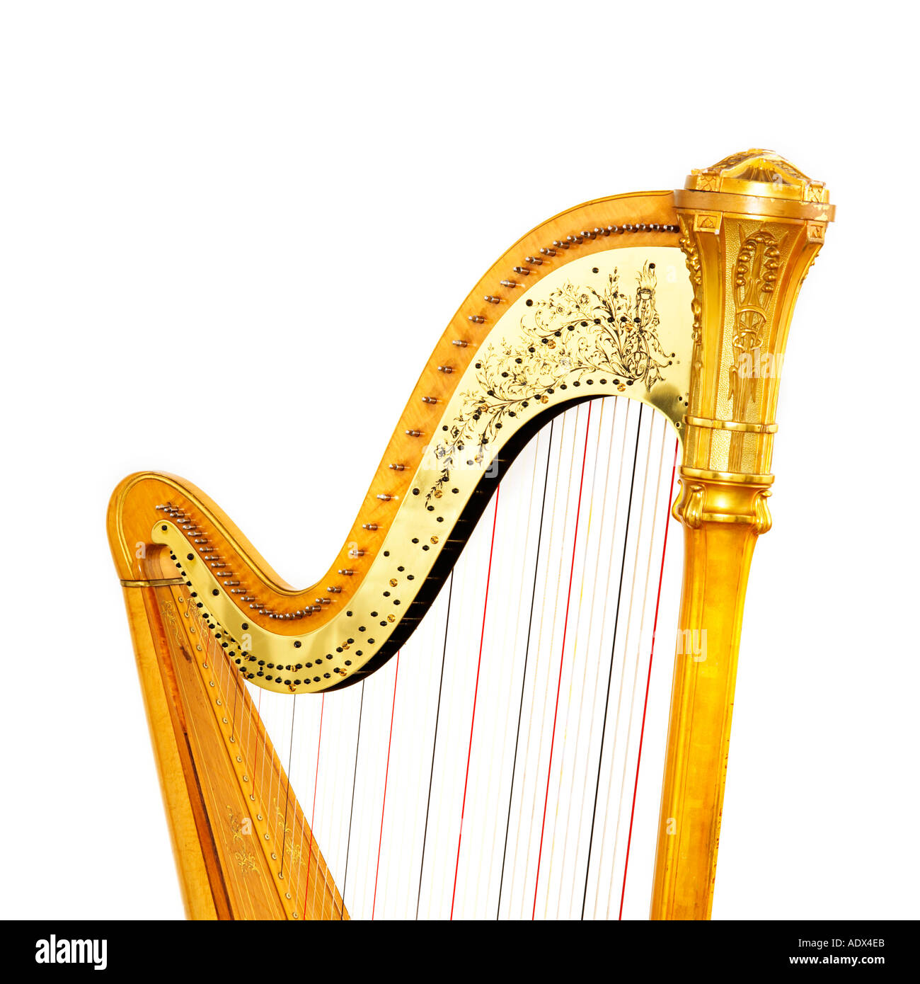 Harp on a white background - Stock Image