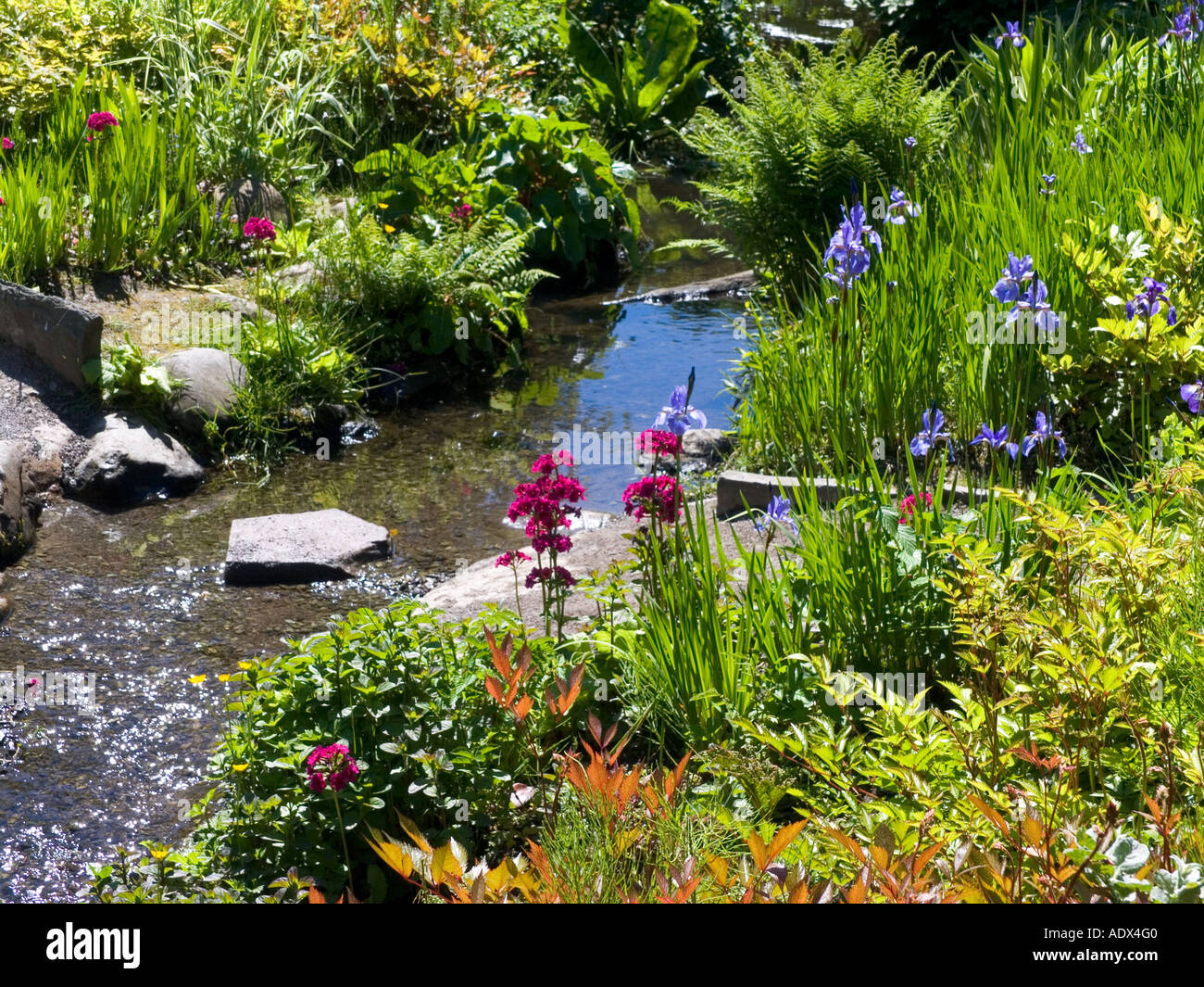Flower bed in Keswick Park.Cumbria Lake District England - Stock Image