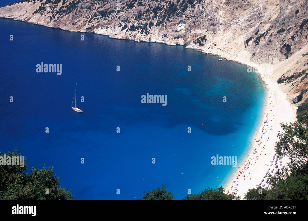 Yacht anchored in bay off Myrtos beach Kefalonia Ionian islands Greece Mediterranean Sea Europe Stock Photo