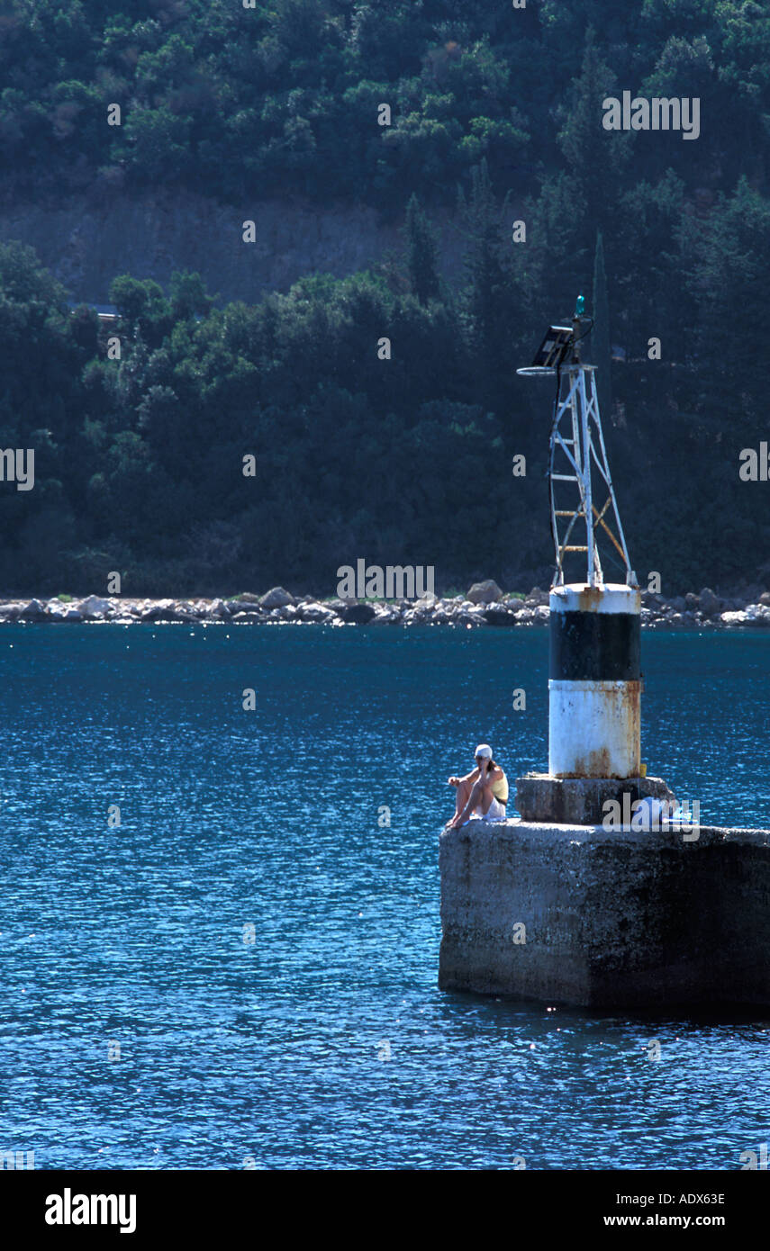 Poros is the second largest port in Kefalonia and an area renknowed for its fishing Kefalonia Ionian Islands Greece - Stock Image