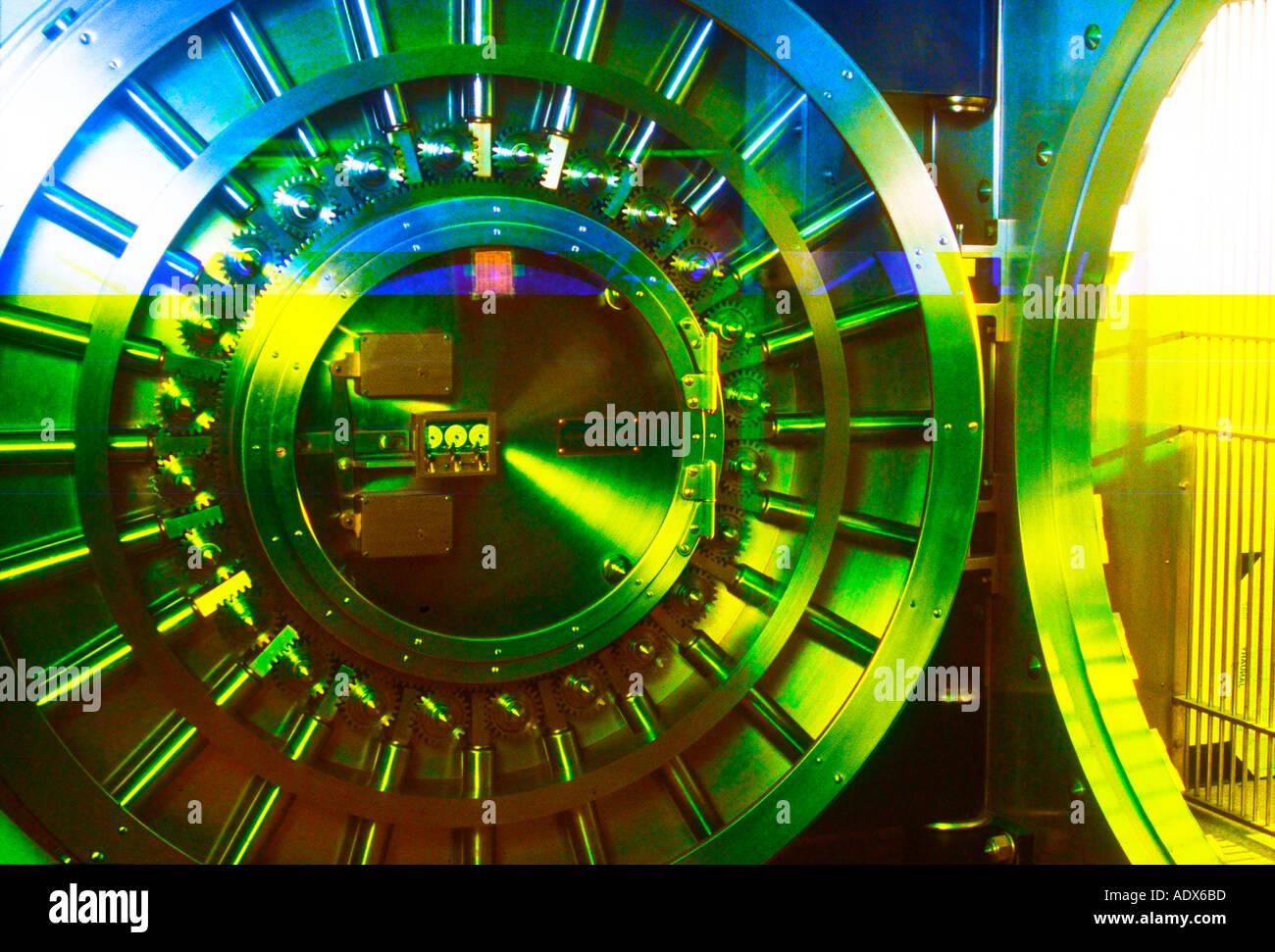 abstract view of bank vault door - Stock Image
