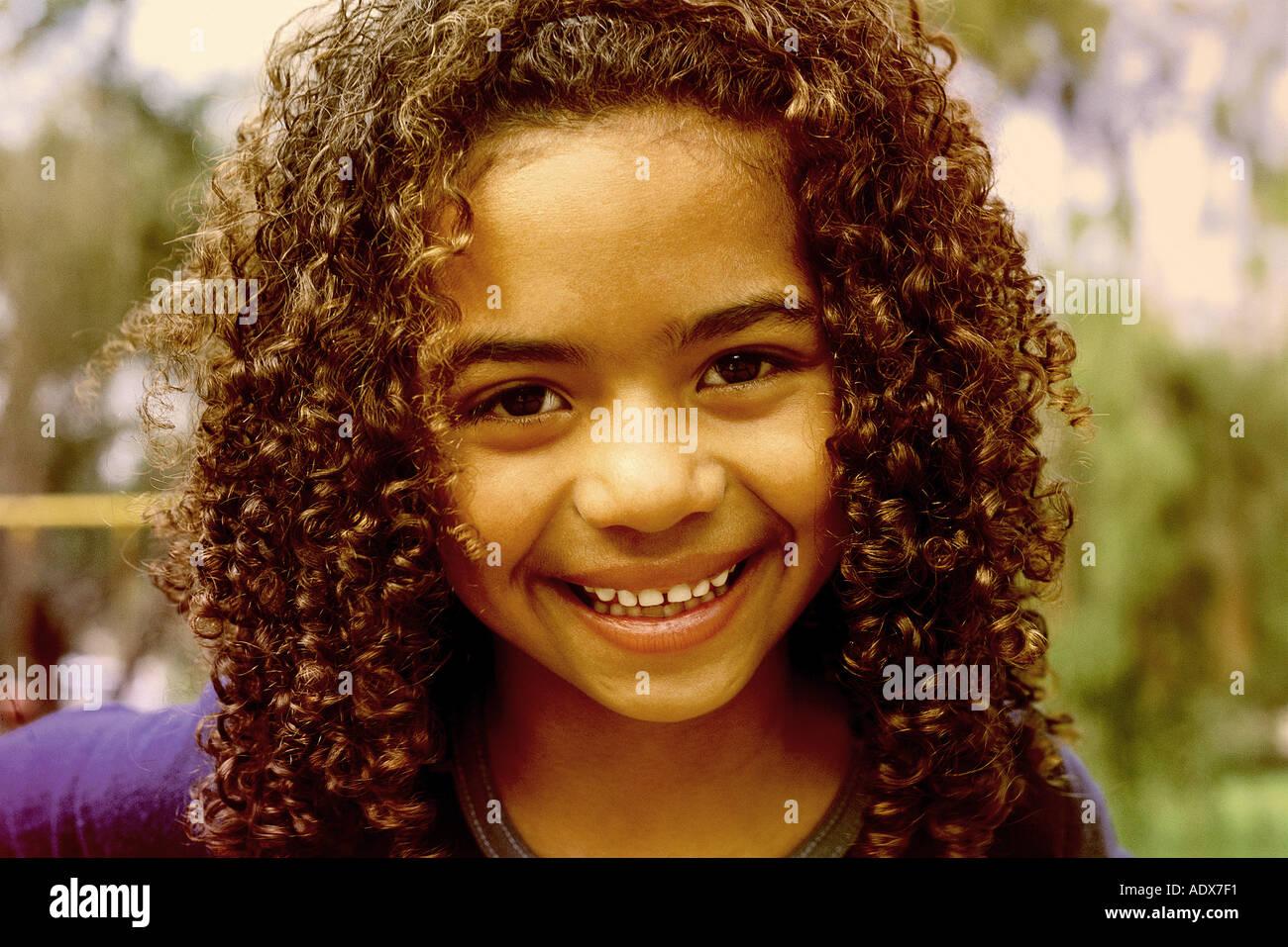 Children Curly Hair Brunette Smile Smiling Children Afro Brazilian