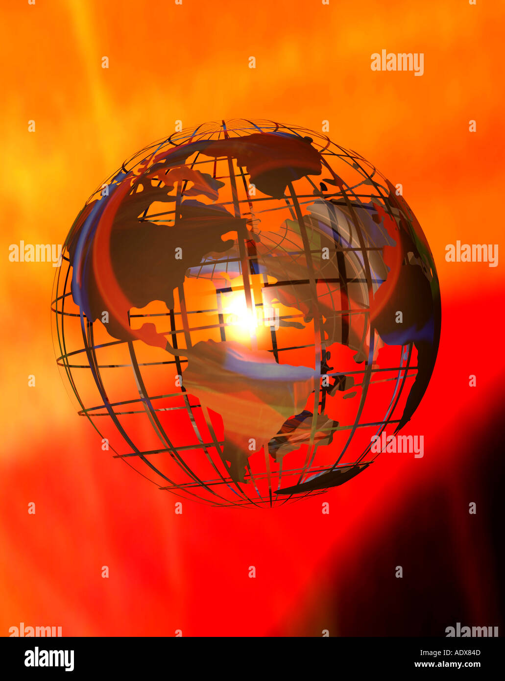 Illustrations www world wide web internet planet at frame tracks fiery background map globe miscellaneous background texture - Stock Image