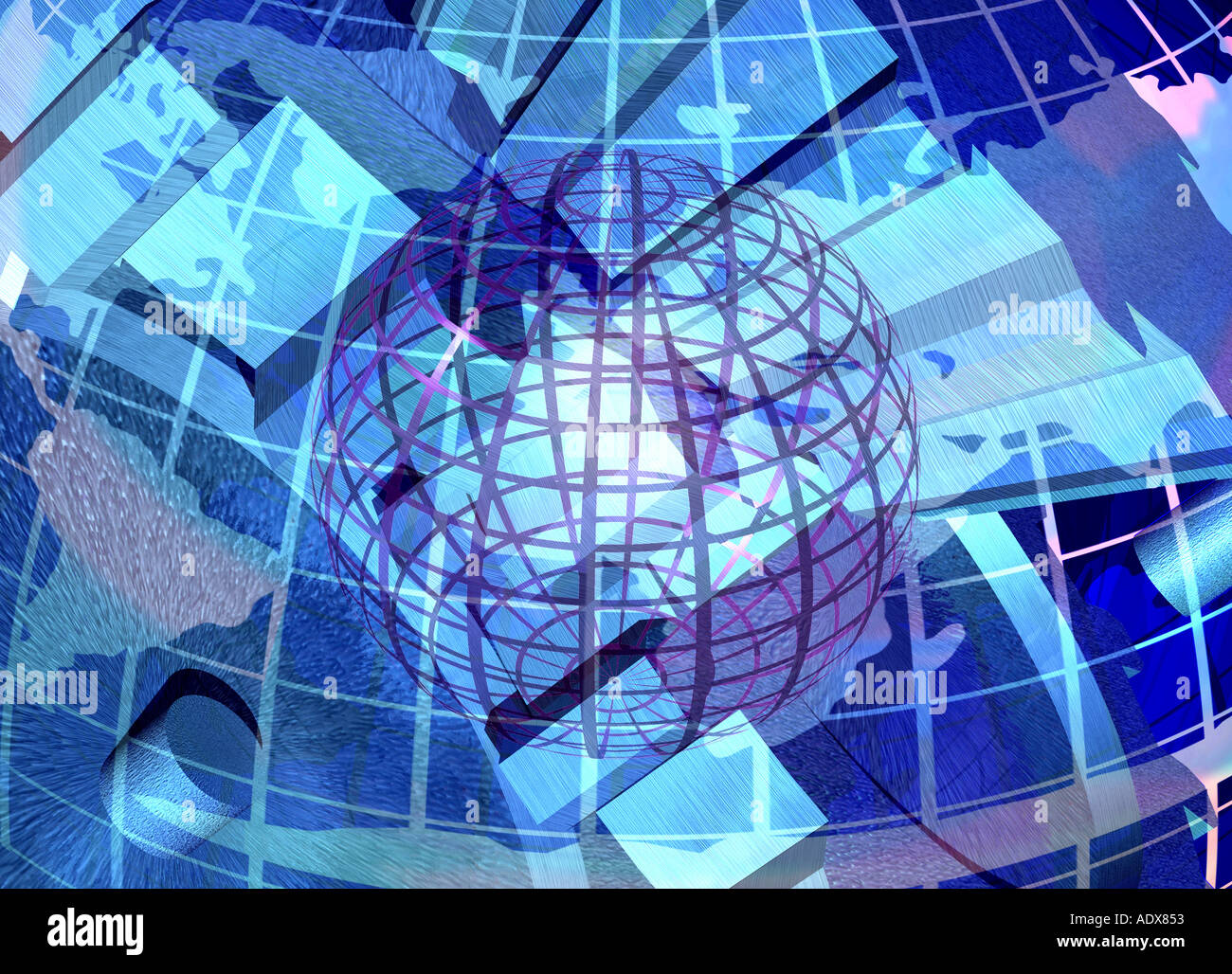 Illustrations www world wide web internet planet at frame tracks meridian map globe miscellaneous background texture - Stock Image