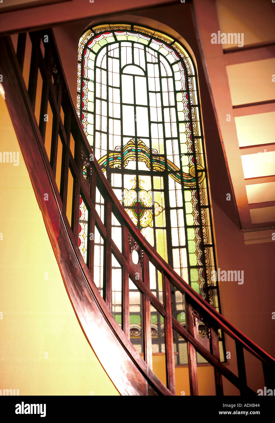 Glass Stair Railing Decoration Concept Concepts stairs stairway staircase wooden railing bannister handrail  stained glass decoration high ceiling architecture