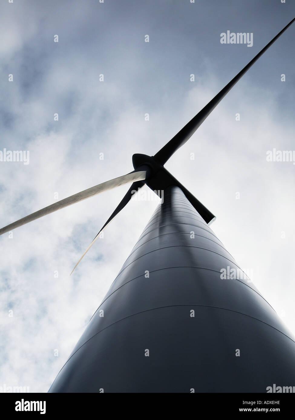 Wind turbine alternative energy wind power infinite resource clean Rotterdam the Netherlands - Stock Image