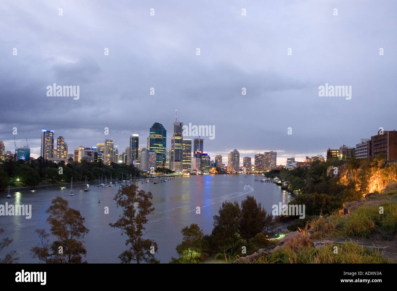 Brisbane at night 3751 - Stock Image