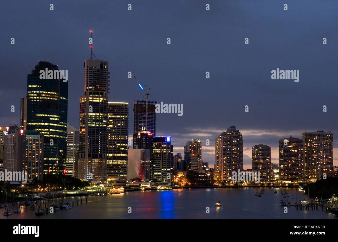 Brisbane at night 3753 - Stock Image