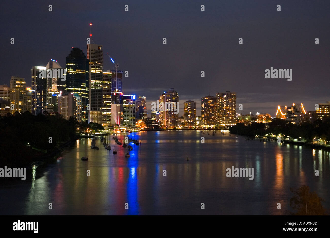 Brisbane at night 3756 - Stock Image