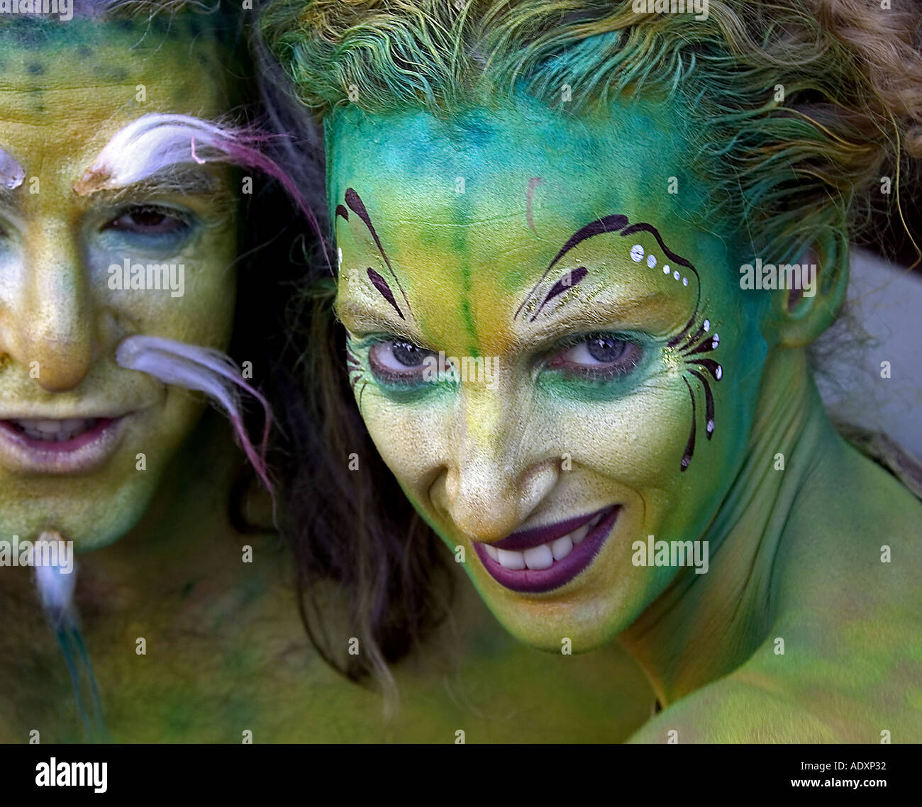 Painted faces - Stock Image