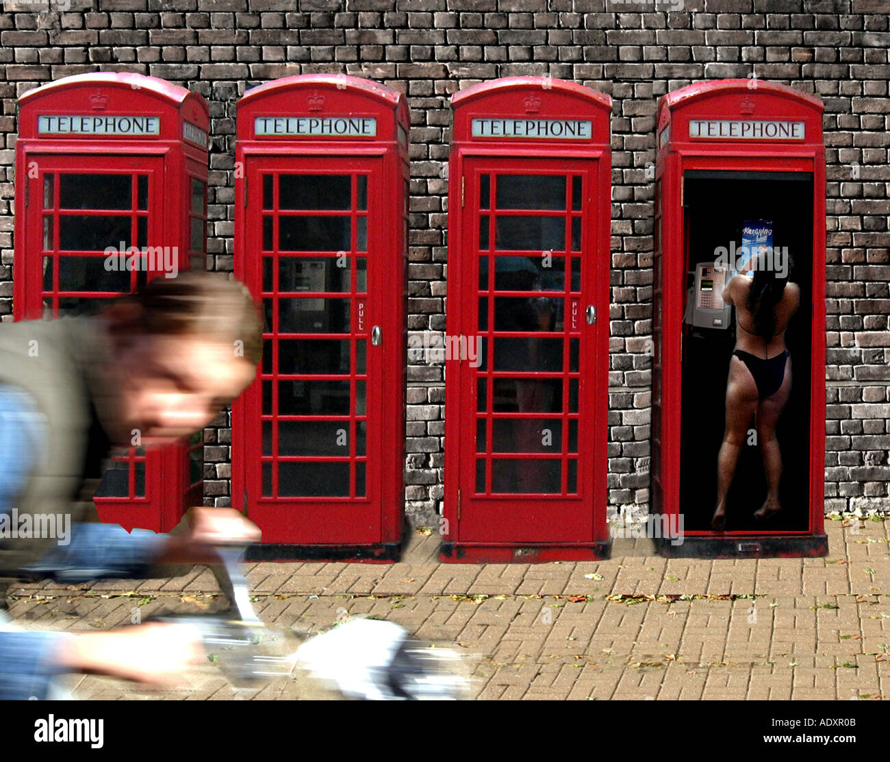 Red telephone box. Cold call. - Stock Image