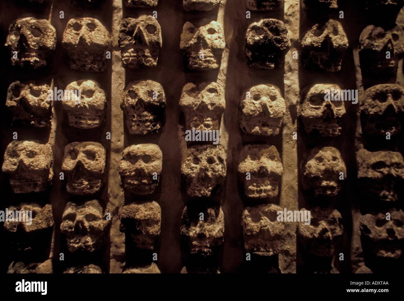 Tzompantli, skull rack, altar, Museo del Templo Mayor, Mexico City, Federal District, Mexico Stock Photo