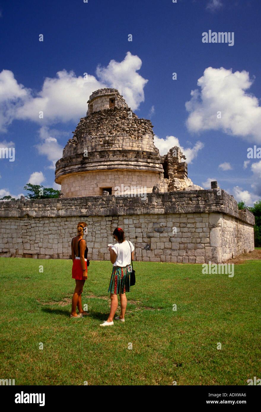 2, two, women, female tourists, Observatory, El Caracol, Chichen Itza Archaeological Site, Chichen Itza, Yucatan - Stock Image