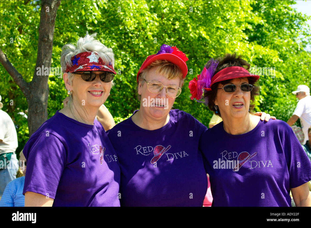 ILLINOIS Libertyville Three ladies members of The Red Hat Club wear purple shirts - Stock Image
