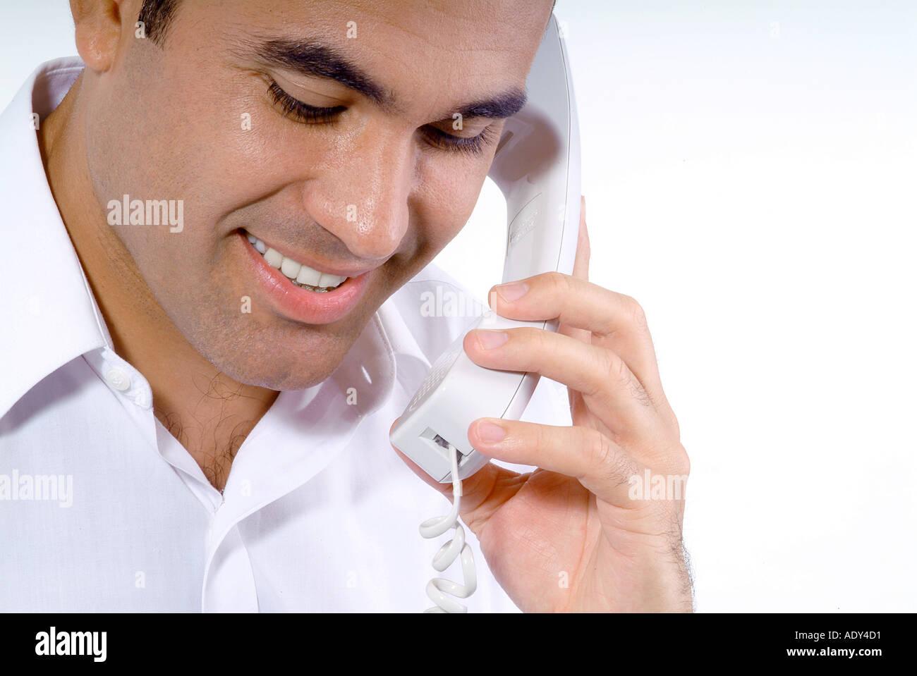 Communication phone phones telephones telephone phone phones cellular cellulars smiling talking laughing communication - Stock Image