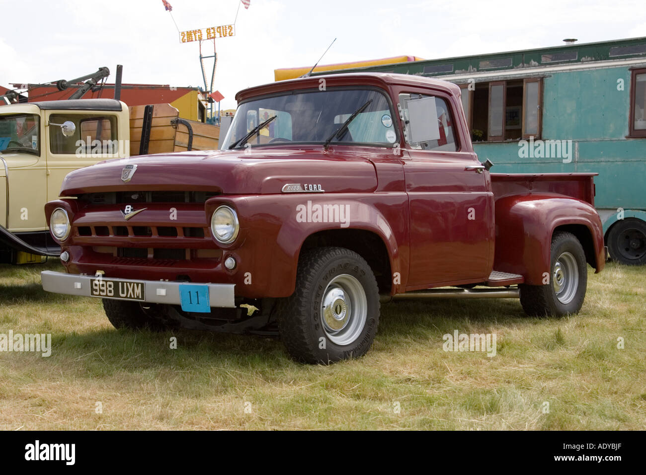 Ford F100 Pickup Truck Stock Photos 1954 Pick Up Ultility On Display At Rougham Fair In June 2006 Image
