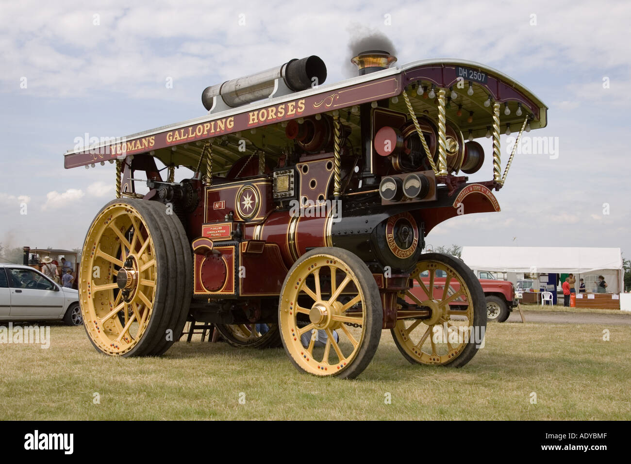 A 1920 Burrell steam traction engine (road locomotive) at Rougham Fair June 2006 - Stock Image